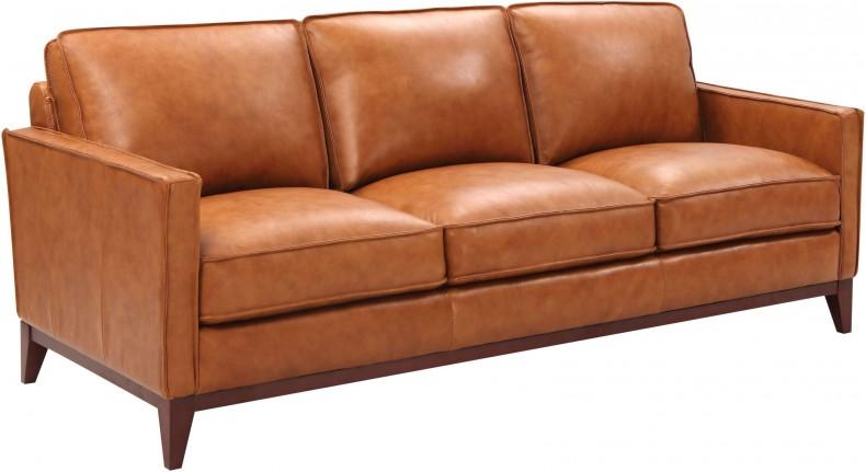 Georgetowne Newport Camel Leather Sofa - 1StopBedroom