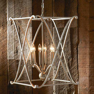 Carmen 4-Light Lantern Geometric Pendant | Farmhouse chandelier .