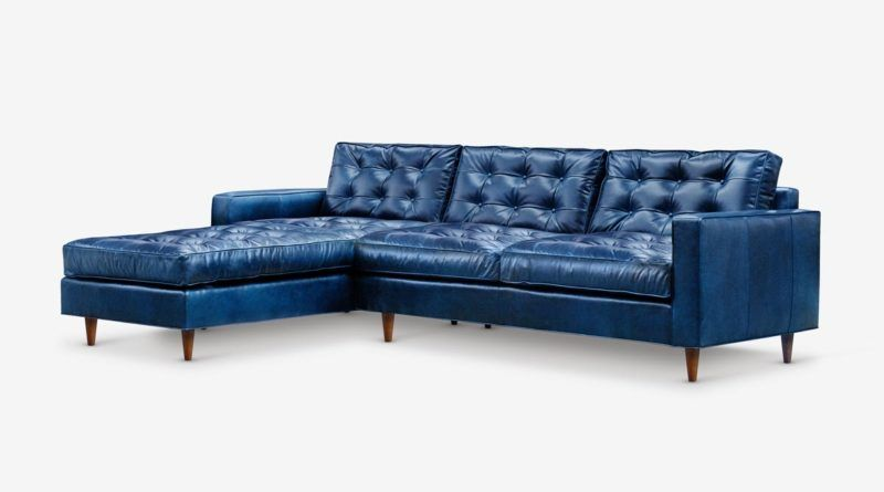 Navy Blue Leather Chaise Sectional | Sectional sofa, Leather .