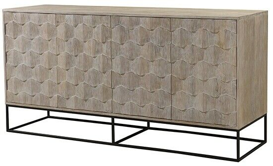"""75"""" L Williams Sideboard Carved 4 Door Solid Mango Wood Iron Base ."""