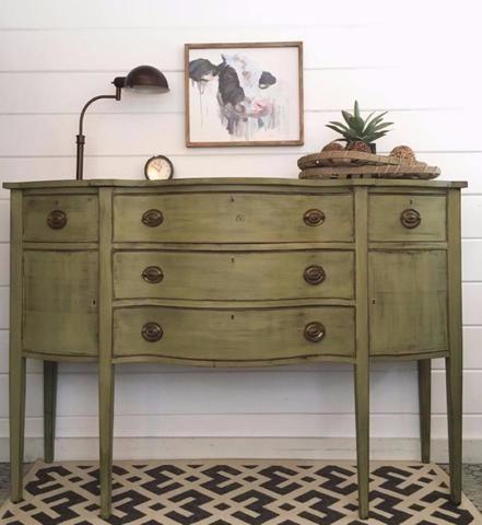 Norton's Point Green | Vintage sideboard, Milk paint, Salvaged .