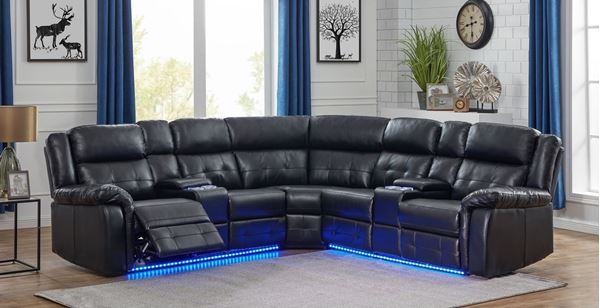 COBALT POWER/MANUAL RECLINING SECTIONAL SOFA WITH .