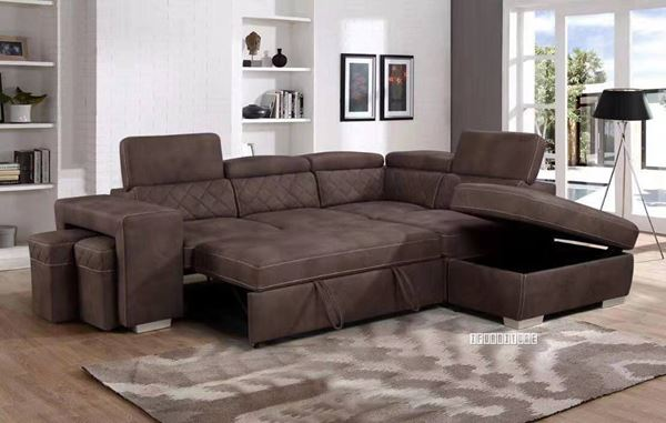 Aria Sectional Sofa/ Sofa Bed with Storage & 2 Ottoma