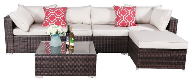 Oakville 6-Piece Outdoor Sectional Sofa Rattan Wicker Patio .