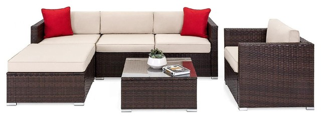 Oakville 6-Piece Outdoor Patio Furniture Sets Wicker Sectional .