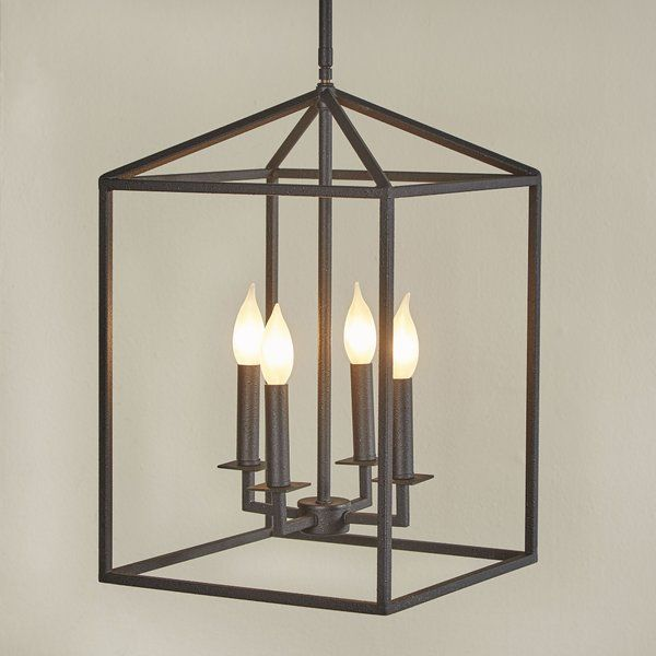 Odie 4 - Light Lantern Rectangle Chandelier | Farmhouse pendant .
