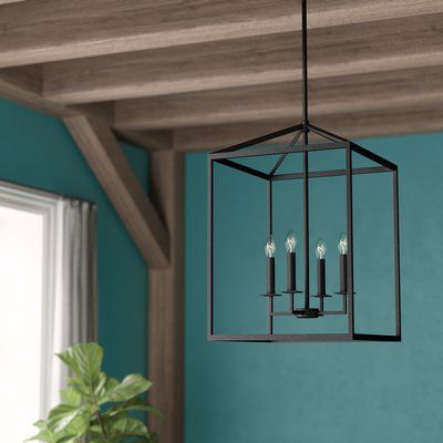 Laurel Foundry Modern Farmhouse Odie 4-Light Lantern Geometric .
