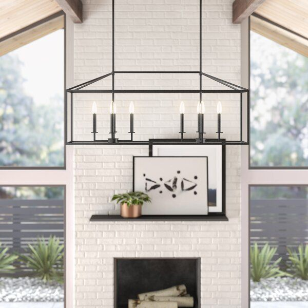 Odie 8-Light Kitchen Island Square/Rectangle Pendant | Rectangle .