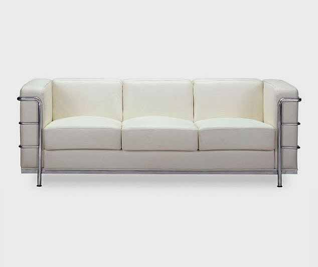 White Contemporary Leather Sofa- Vera | Leather Sof