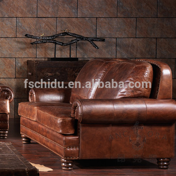American Retro Style Royal Furniture Old-fashioned Leather Sofa .