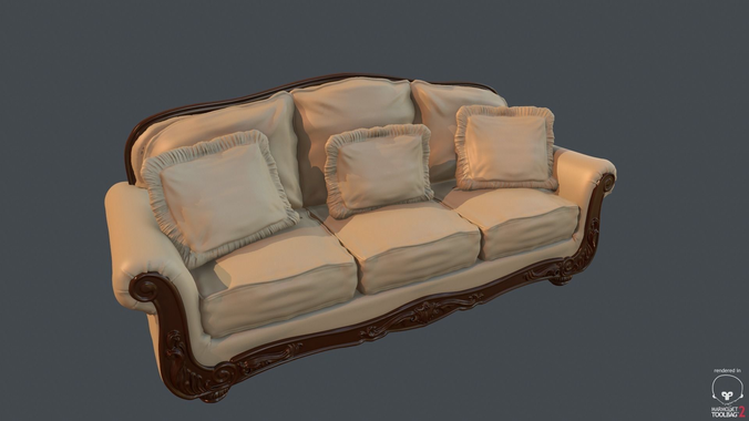 3D model Old Fashioned Sofa | CGTrad