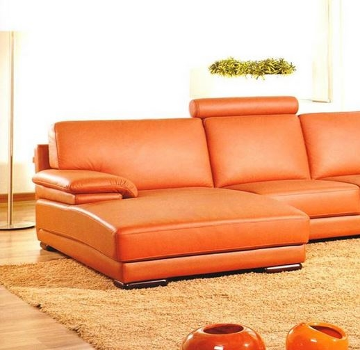 Contemporary Orange Leather Sectional Sofa with Chai