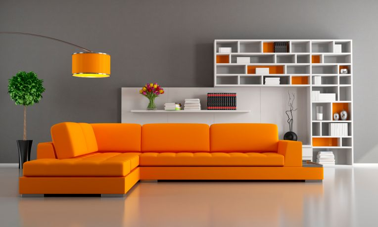 Modern living room design with bright orange sectional sofa, grey .