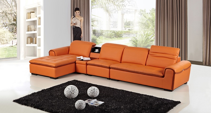 Modern Orange Faux Leather Sectional Sofa - Shop for Affordable .