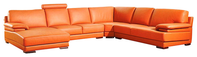 2227 Orange Top Grain Leather Sectional Sofa - Sectional Sofas .