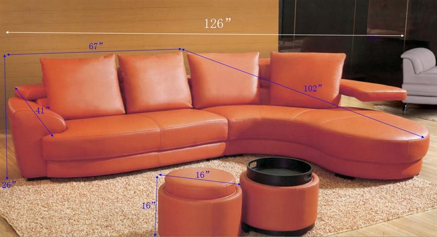 Contemporary Orange Sectional Sofa Set TOS-LF-83