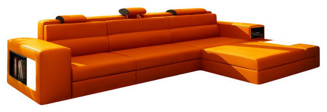 Polaris Mini Contemporary Leather Sectional Sofa With Light .