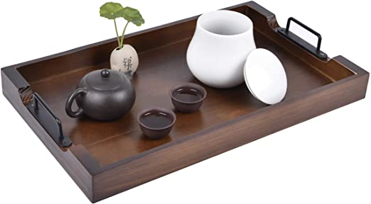 Amazon.com | Large Ottoman Tray with Handles - 20 inch - Wooden .