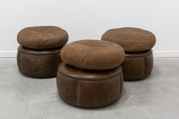 Vintage Ottomans on Wheels, 1960s, Set of 3 for sale at Pamo