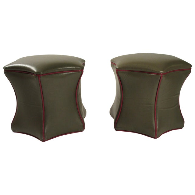 Pair of Green Leather Ottomans on Wheels | Chairi