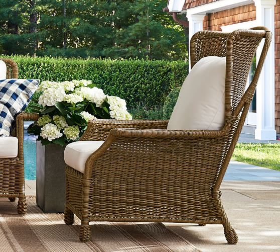 Saybrook All-Weather Wicker Wingback Lounge Chair | Pottery Ba