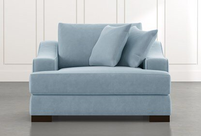 Lodge Foam Light Blue Oversized Chair | Living Spac