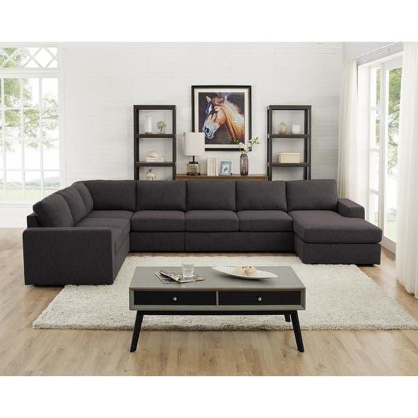 Shop Copper Grove Palaiseau Dark Grey Linen Modular Sectional Sofa .