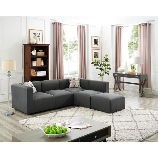 Shop Copper Grove Malabry Grey Linen Modular Sectional Sofa and .