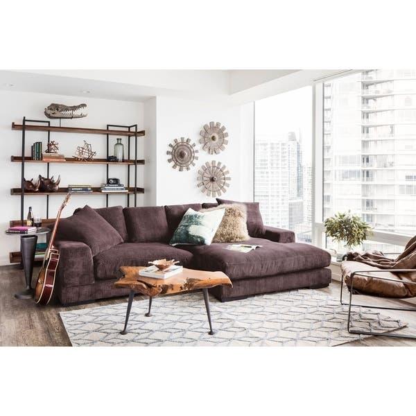 Shop Aurelle Home Polk Dark Brown Sectional Sofa - Overstock - 95253