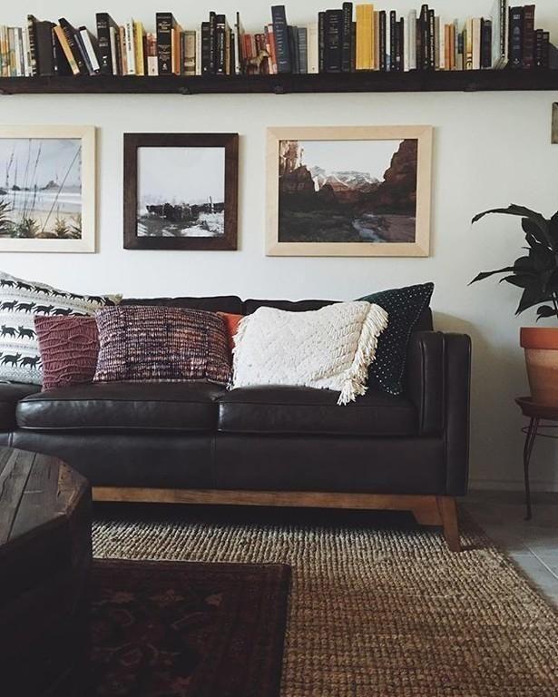 Worthington Oxford Brown Sofa   Leather living room furniture .