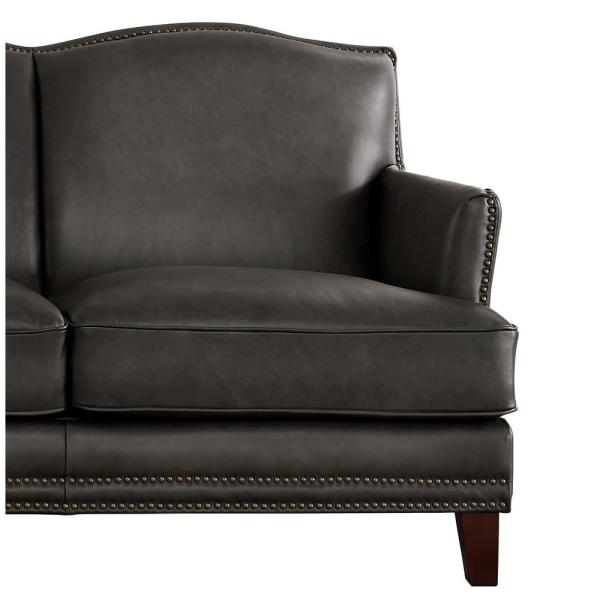 Hydeline Oxford 86 in. Gray Leather 3-Seater Camelback Sofa with .
