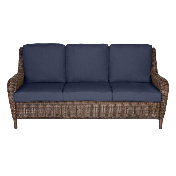 Hampton Bay Cambridge Brown Wicker Outdoor Patio Sofa with .