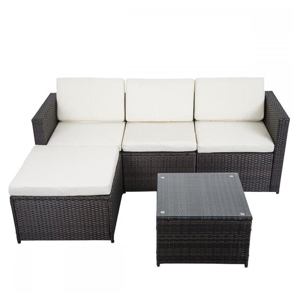5 Piece Outdoor Patio Sofa Set - Brown w/ White Cushion .