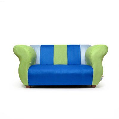 Zoomie Kids Espere Personalized Kids Microsuede Sofa Color: Blue .