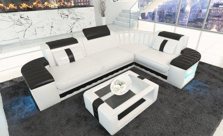 Design Leather Sofa Philadelphia L Shape with LED Lights | Modern .