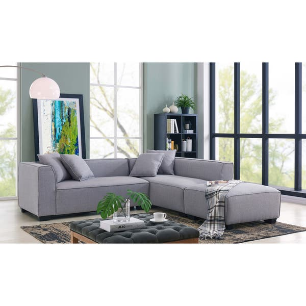 Shop Handy Living Phoenix Grey Sectional Sofa with Ottoman .