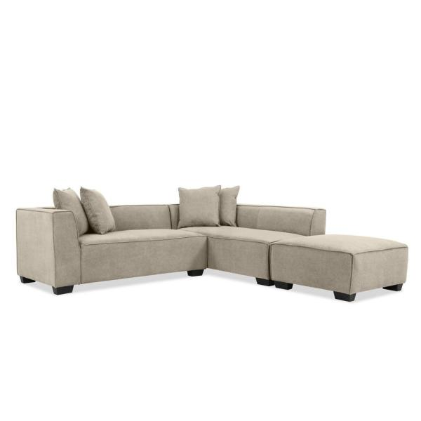 Handy Living Phoenix 3-Piece Light Gray Polyester 4-Seater L .
