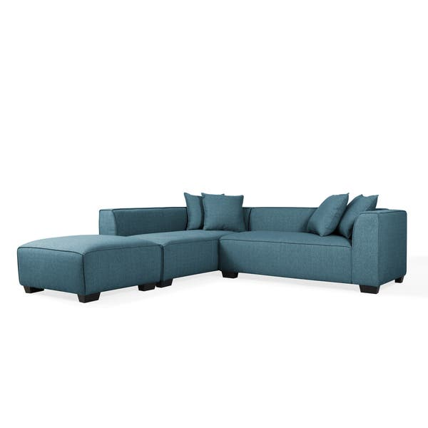 Shop Handy Living Phoenix Blue Sectional Sofa with Ottoman .