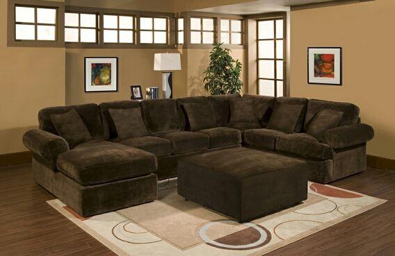 3 pc Bradley sectional sofa with chocolate plush velour microfiber .