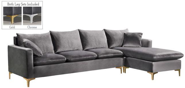 Selene Contemporary Plush Grey Velvet Sectional Sofa with .