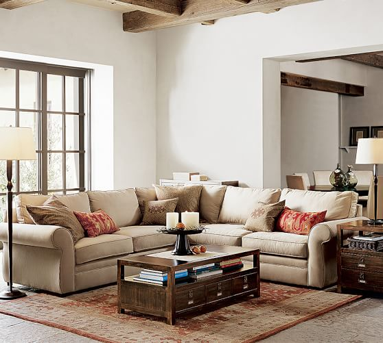 Pearce Roll Arm Upholstered 2 Piece L-Sectional | Pottery Ba