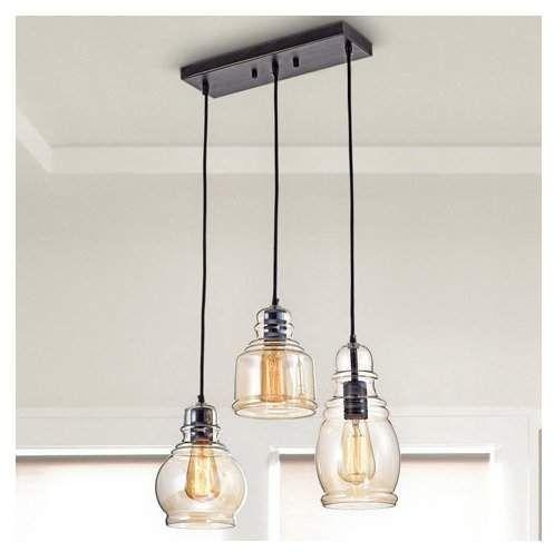 Pruett Cognac 3-Light Cluster Bell Pendant in 2020 | Farmhouse .