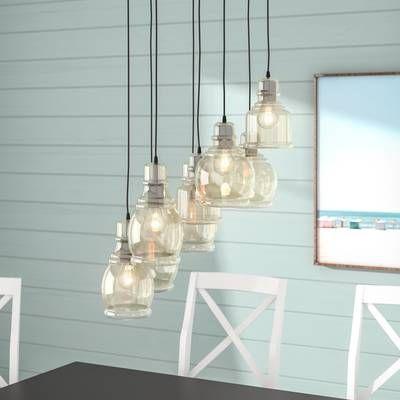 Pruett 8 - Light Cluster Jar Pendant | Sea glass chandelier .