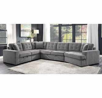 Logansport 4-Pc Gray Sectional with Pull-out Bed by Homelegan