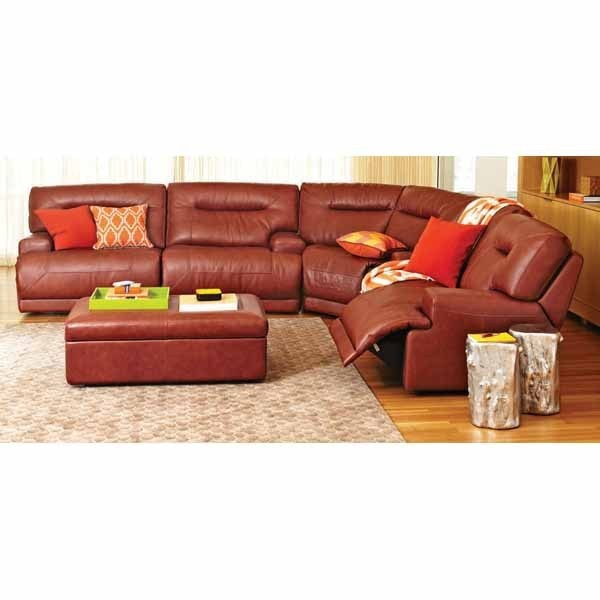Macy's Ricardo Cognac Leather Quad Power Reclining Sectional .