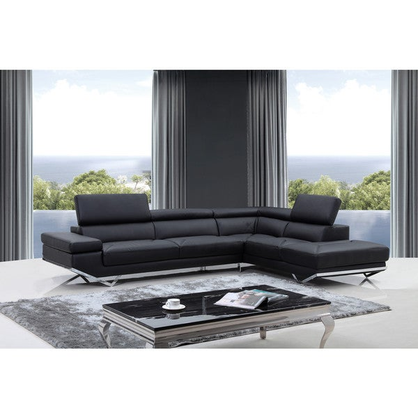 Shop Divani Casa Quebec Modern Black Eco-Leather Sectional Sofa .