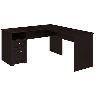 Bush Furniture Cabot 60W L Shaped Computer Desk with Drawers .