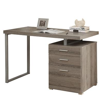 Monarch Computer Desk with Storage Drawer Wood 1, Dark Taupe .