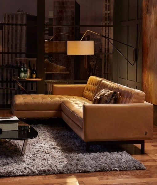 American Leather Parker leather sofa - BeyondBlue Interiors .