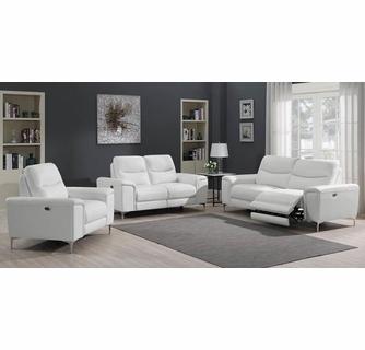 Largo 3-Pc White Leather/Vinyl Power Recliner Sofa Set by Coast